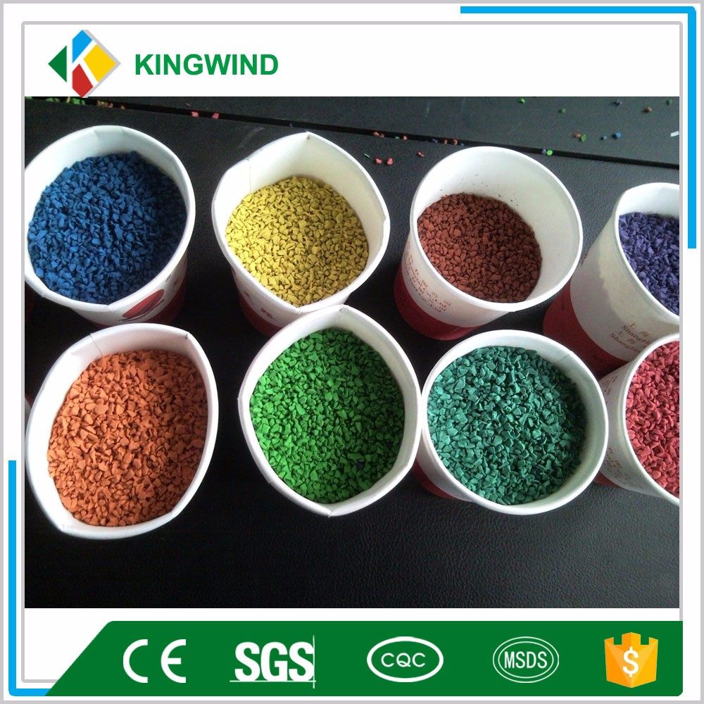 EPDM granules are primary made by raw EDPM polymers,rubber softening oils,calcium carbonates. Our raw EPDM polymers are imported