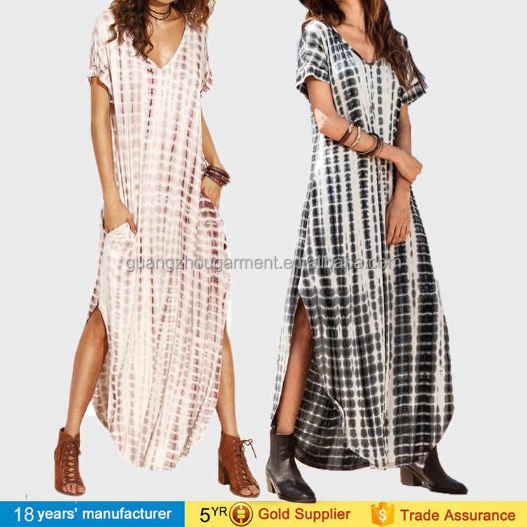 2017 women wholesale cheap price side split loose tie dye jersey long maxi dress
