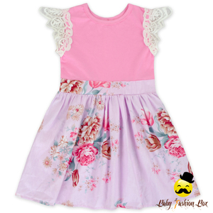 Puffy Lace Cap Sleeve Organic Cotton Ruffle Dress Net Frock Designs For Kids