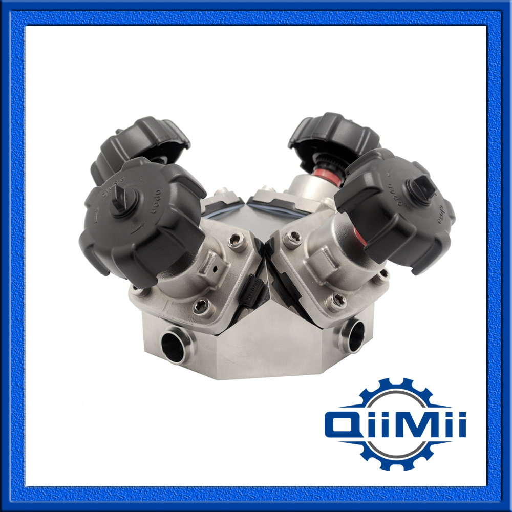 Sanitary 4 Way Diaphragm Valve, Stainless Steel Four Way Diaphragm Valve