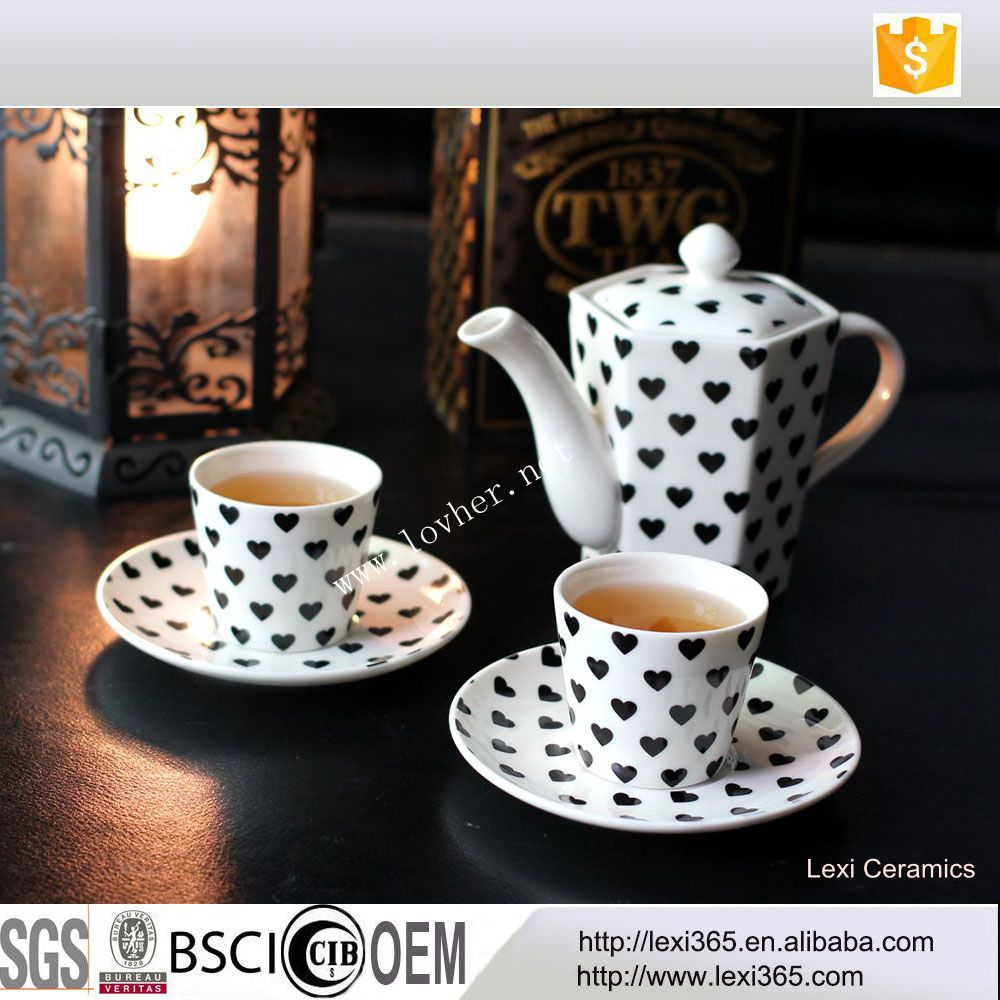 Unique 5pcs New Bone China Porcelain Tea Coffee Set Love Decal For Afternoon Tea Sets