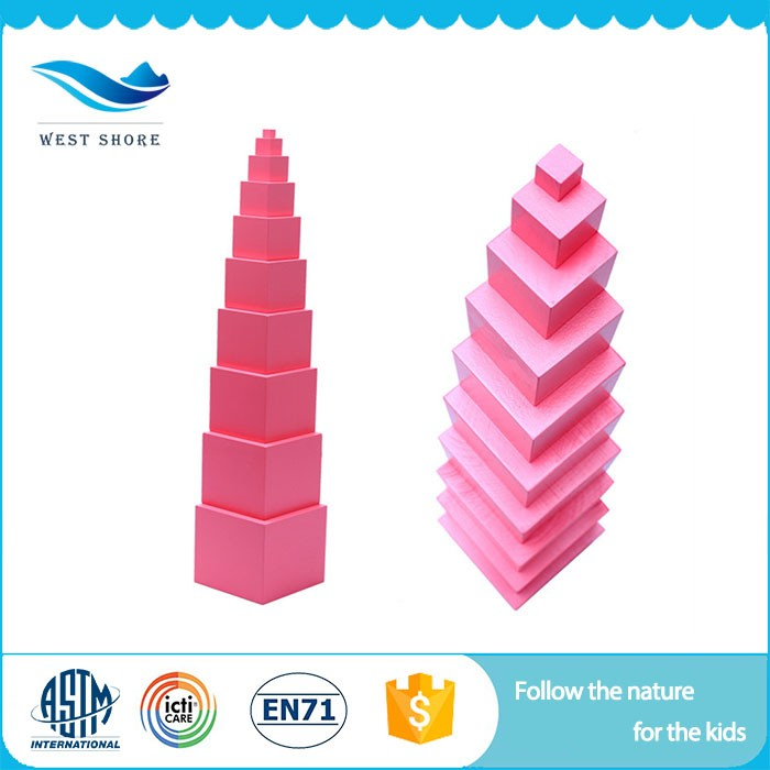High Quality Custom Children Educational Wood Toys For Kids Montessori Pink Tower Of High Quality