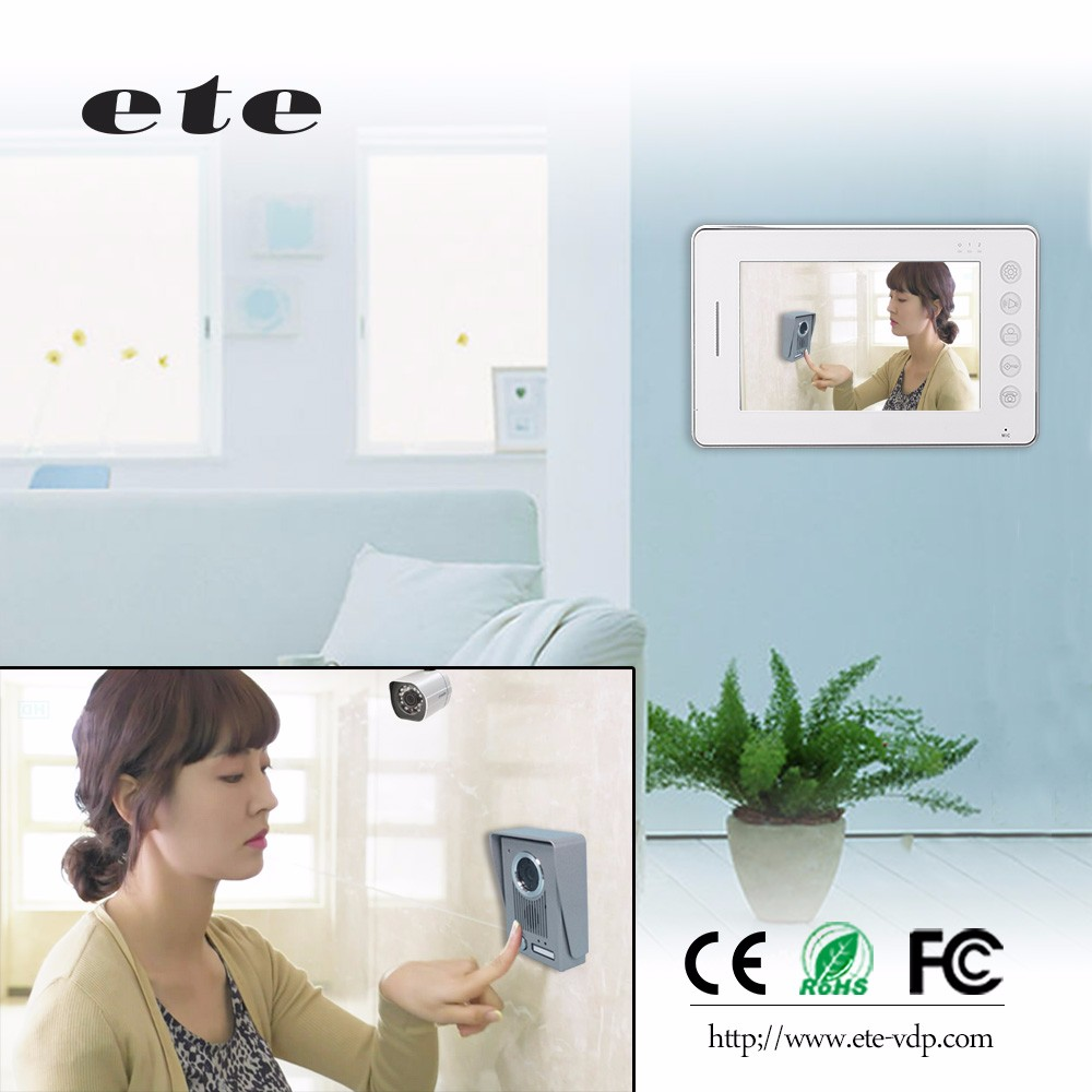 Home security 7 inches tft lcd color video door monitor door phone intercom with access control support room to room intercom