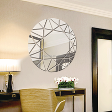 Modern style round reflective mirror with slef adhesive for decoration