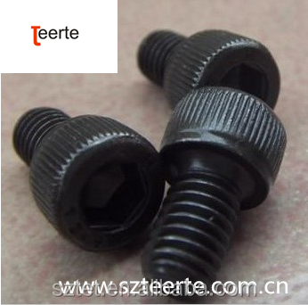 Black knurled hexagonal socket head cap screws
