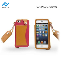 High Quality PU Leather Case Cover with Hand Wrist Neck Strap Lanyard Mobile Phone Case for iPhone5 5S