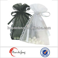 Promotion golden drawstring satin gift bag