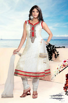 Beautiful Design White Suit Golden Lase work