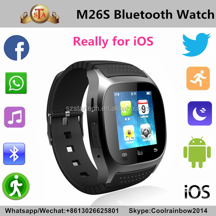 Most Popular MTK2501 Bluetooth 4.0 Smart wath M26s really for ios phone