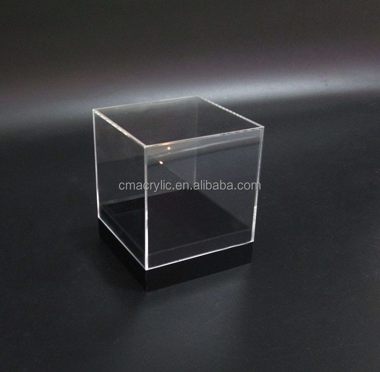 Cube Square Shape Clear Small Acrylic Display Boxes Transparent Plexiglass Perspex Jewellry Display Box With Black Base