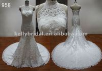 New arrive special neckline fishtail beaded backless overlay lace wedding dresses in dubai