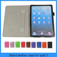 For ipad 5 insert card with hand rack leather cover case for apple ipad 5 case ipad5 tablet cases-black