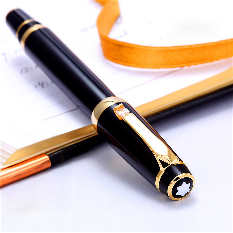 Free Shipping - MB-SPECIAL BOHEME Series Super AAA Quality Stationery Golden Clip Pure Black Roller Ball Pen