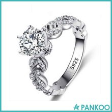 Latest 925 Silver Zirconia Wedding Engagement Ring Designs White Gold Plated Fashion Jewelry Female Ring Wholesale