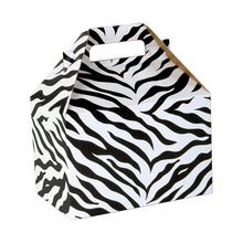 custom 100% Recyceld board euro Style Giftware Box with Zebra Stripes and top folds into a carrying handle
