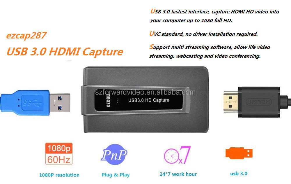 Amazon hot selling HDMI to USB 3.0 UVC Capture Card Device Dongle 1080P Video Audio recorder Win Mac ezcap287P