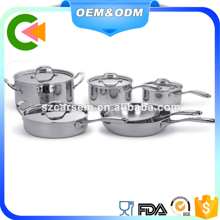 Wholesale manufacture China 201/304 Stainless Steel Cookware, Pan/Pot, Cookware Set 10pcs