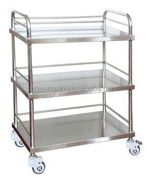 High quality three layers hospital stainless steel trolley YXZ013