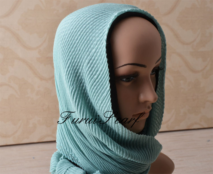 Women Maxi Plain Crinkle Scarf Muslim Long Size Scarves Stripe Hijab Fashion Wrinkle Shawls Scarves