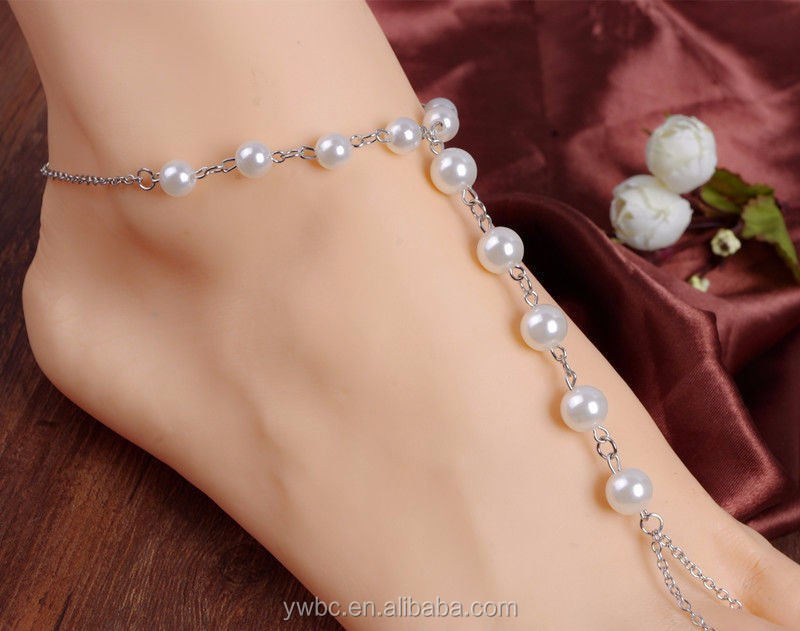Wedding Bridal Pearl Silver Design Anklet Barefoot Sandal Ankle Bracelet with Toe Ring