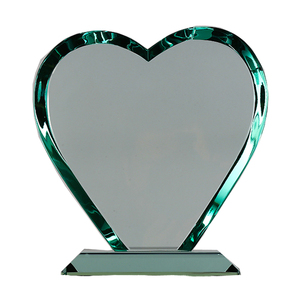 Unique Heart Shape Blank Jade Glass Crystal Trophy Award for Sublimation