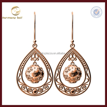 Newest Unique Design rose gold harmony ball fancy drop hanging earrings