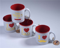 Hot sale! Custom Sublimation 350-400ml red heart antique ceramic mug cup