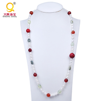 Agate Irregular shape Freshwater Pearl Necklace
