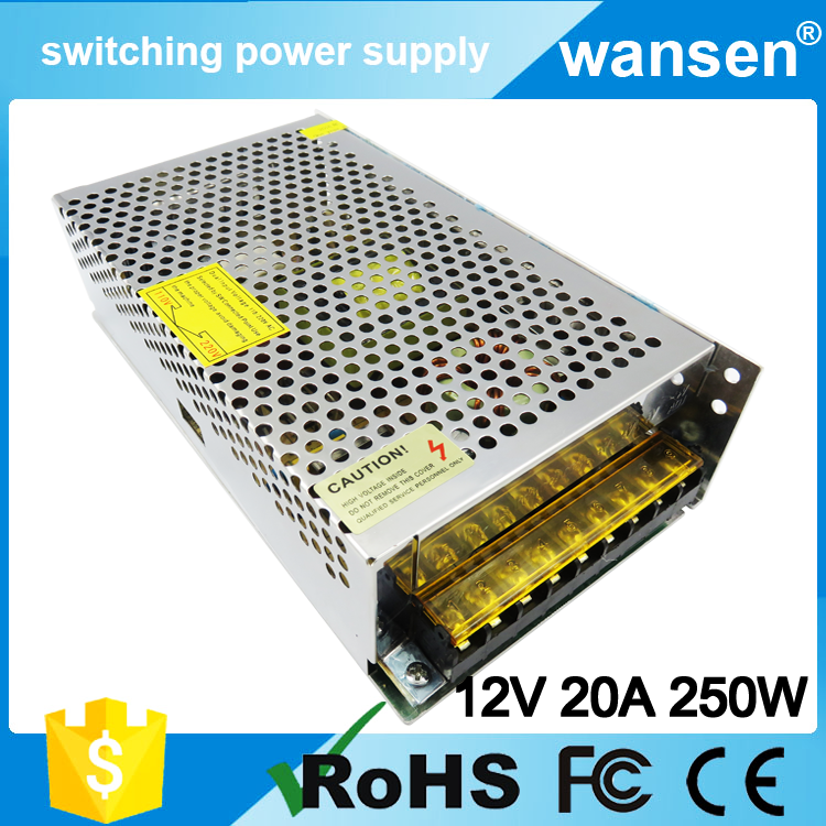 China smps 12v dc voltage regulator S-250-12 12V 20A 250W power supply 12 volt 20 amp ac dc switching power supply