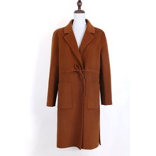 New design fashion caramel color winter long women's coat