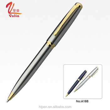 Sliver high quality steel material ball pen with company logo