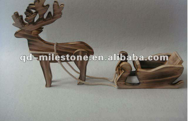 Christmas craft wooden reindeer pulling sleigh