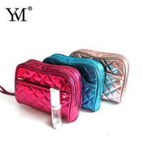 Promotional shiny pu quilt purse,lady makeup bag,give away bag wholesale