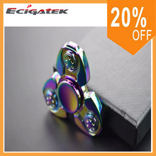 Rainbow Colorful Zinc Alloy EDC Gyro Tri-angle Fidget Spinner Metal 3 Bar Finger Hand Fidget Spinner Adult Causual Decompressive