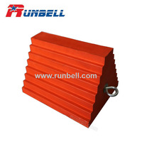 200mm Strong PU Foam or Rubber Wheel Chock with Steel Handle for Truck