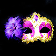 Hot sale white cover purple cheap PVC masquerade mask with crystal