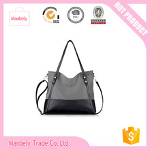 """2016 Promotional high quality fabric white black stripe adult leather handle mummy baby diaper bag"""