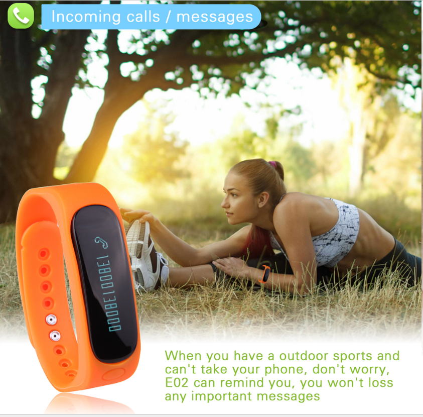 E02 CE ROHS Smart Bracelet With Good Health Sleep Monitoring Bracelet