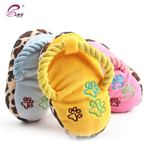 Chew Practical Slipper Shape Blue Yellow Plush Sound Squeaker Toy For Dogs