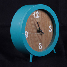 Wholesale Unique Round MDF Table Alarm Clock For Christmas Promotion Item