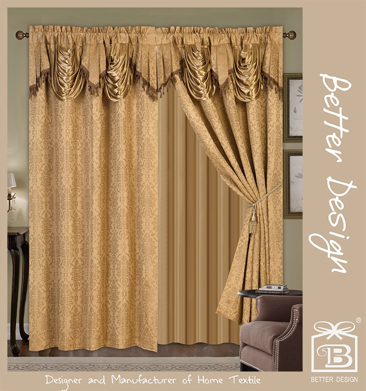 2pcs Gold Jacquard Valance Fabric Curtains In Arab Style
