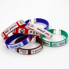New Braided world cup Bracelets cotton cord Bangles ABS football team bracelet ZQBL210