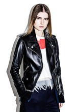 Latest Fashion Women Punk Motorcycle Biker Leather Zip-up Slim PU Jacket Rivets Lapel Outerwear