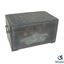 Antique hand painted travel storage trunk
