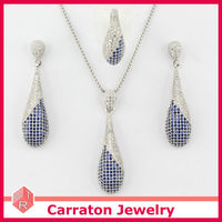 Sterling Silver 925 High Fashion Royal Blue Jewelry Set