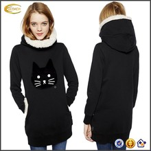 Ecoach 2016 Winter Wholesale OEM Long Sleeve Cute Cat Applique Faux Fur Elastic Cuffs And Bottom Warm Black Womens Hoodie