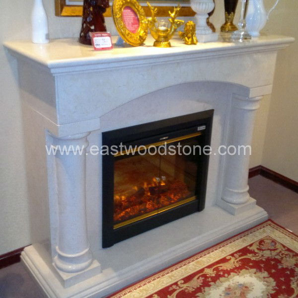 decor flame electric fireplace with white marble fireplace