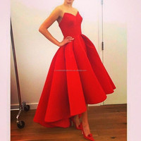 Designer Arabic Sweetheart High Low Red Matte Red Fashion Evening Gown vestido de festa Satin Prom Dresses CWFp1976