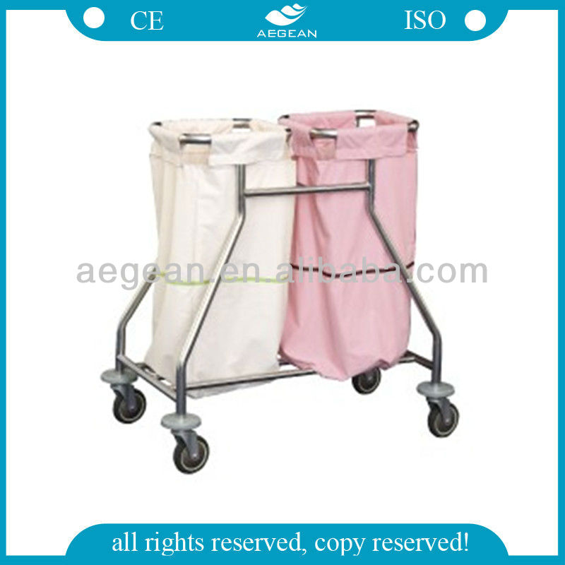 AG-SS019 professional manufacturer SS hospital cleaning Linen Trolley