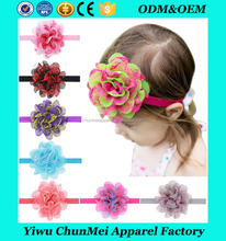 new arrival popular lace chiffon elastic infant knitting hair wave headband